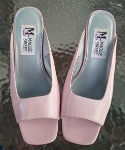 Pink Peep Toe Slip Ons